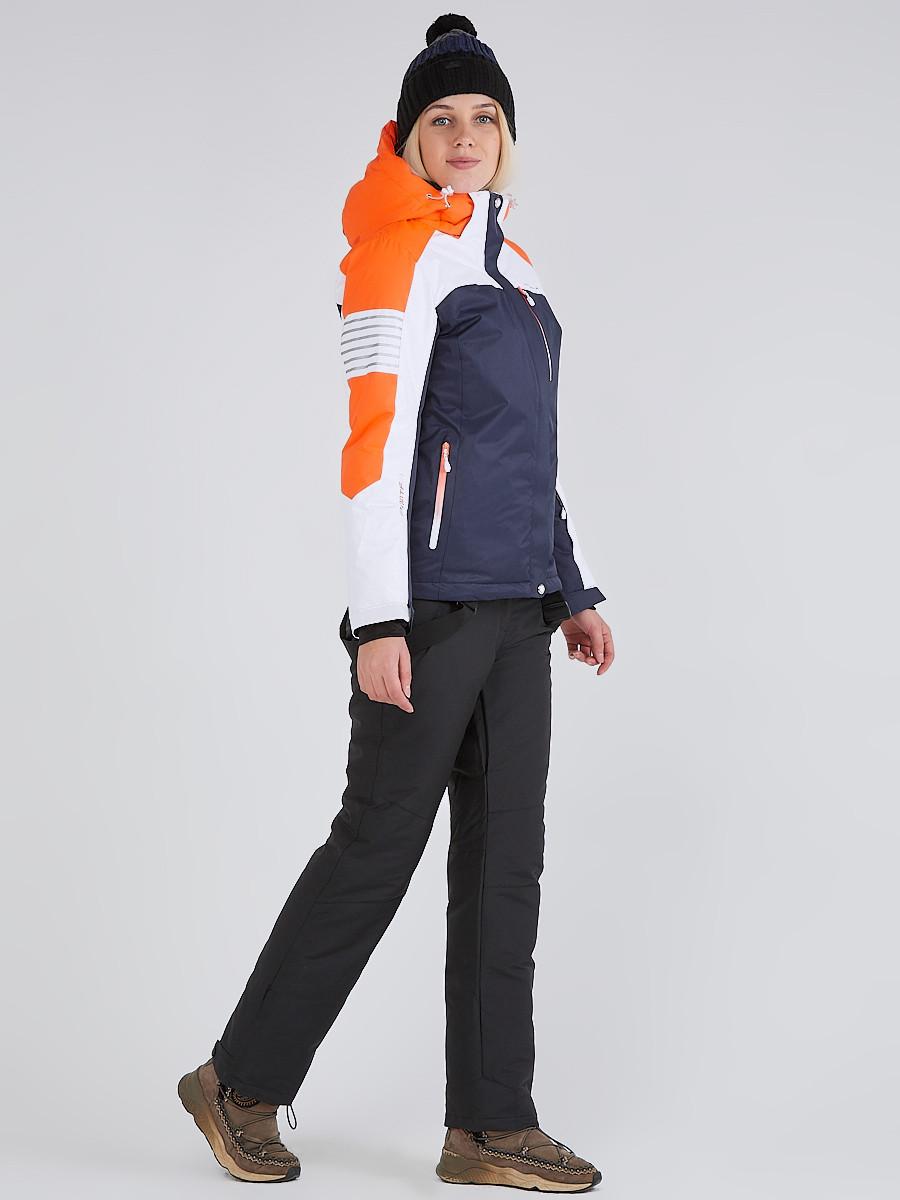 Купить Женский зимний горнолыжный костюм темно-синего цвета 019601TS