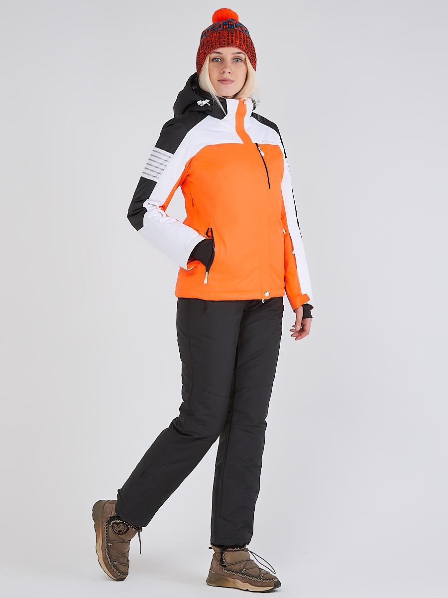 Купить Женский зимний горнолыжный костюм оранжевого цвета 019601O