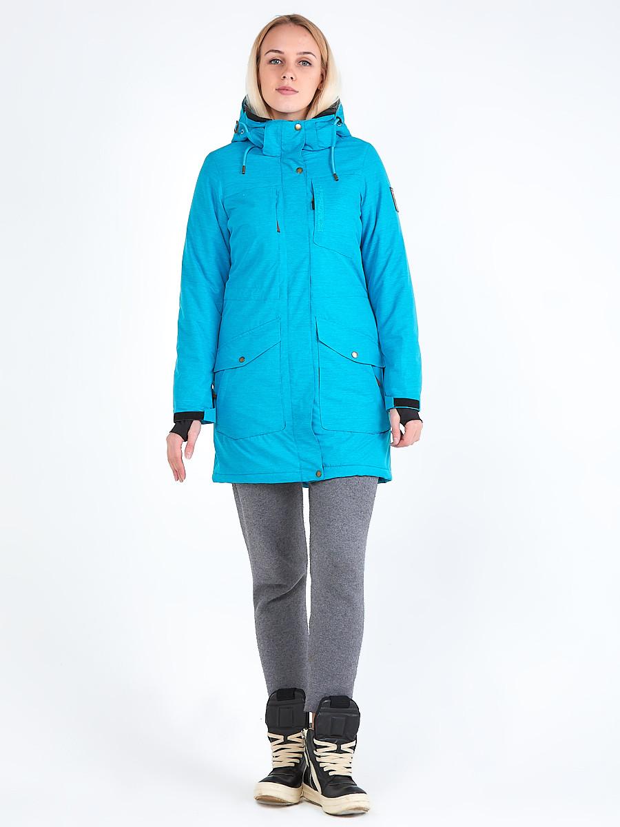 Купить Куртка парка зимняя женская голубого цвета 19621Gl