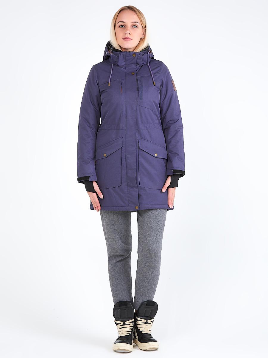 Купить Куртка парка зимняя женская темно-фиолетового цвета 19621TF