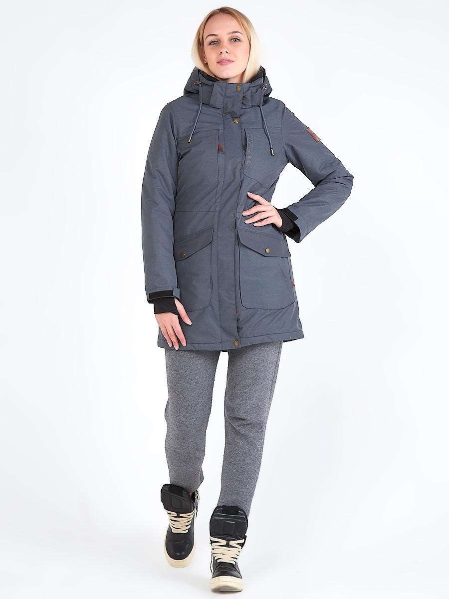 Купить Куртка парка зимняя женская темно-серого цвета 19621TC
