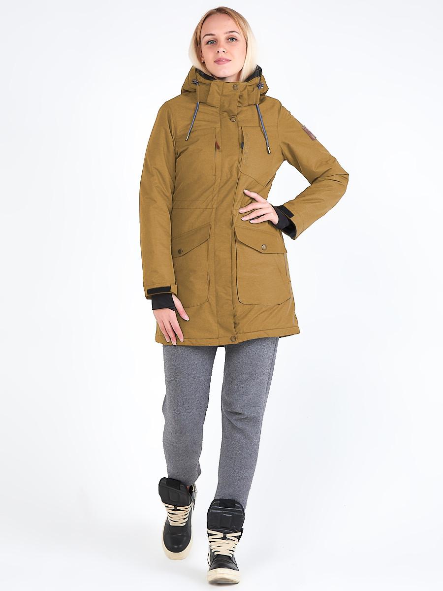 Купить Куртка парка зимняя женская горчичного цвета 19621G