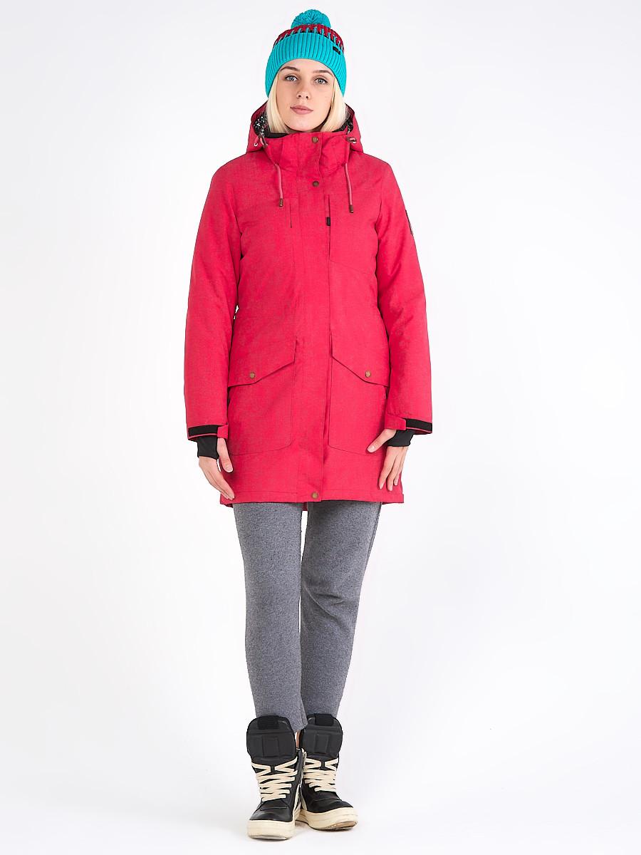 Купить Куртка парка зимняя женская малинового цвета 19622M