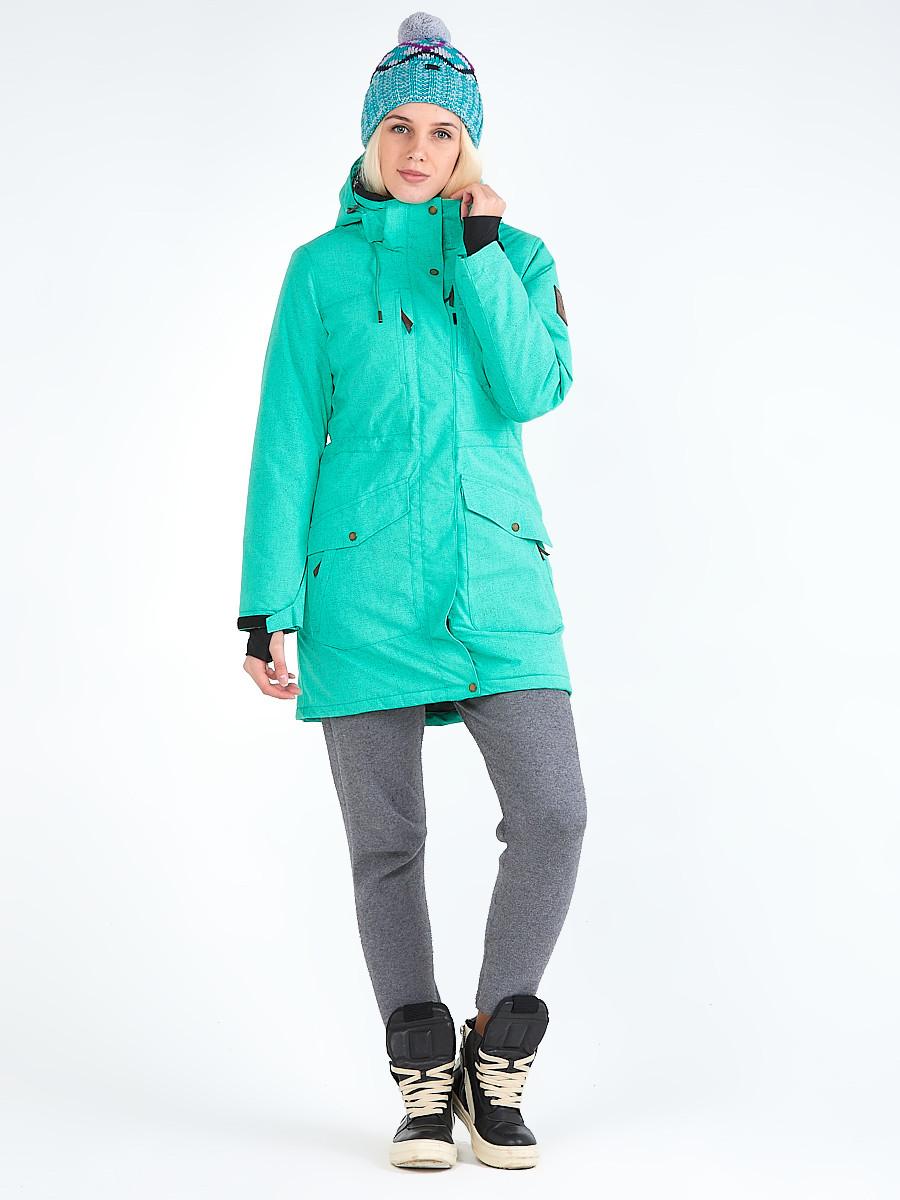 Купить Куртка парка зимняя женская зеленого цвета 19622Z