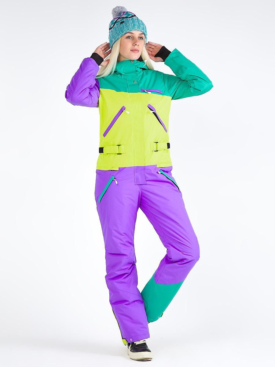 Купить Женский зимний комбинезон фиолетового цвета 19691F