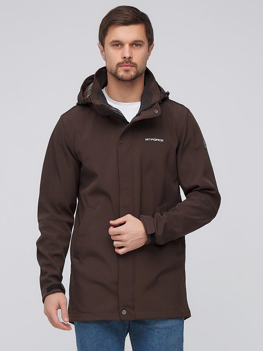 Купить Парка мужская осенняя весенняя softshell коричневого цвета 2010K