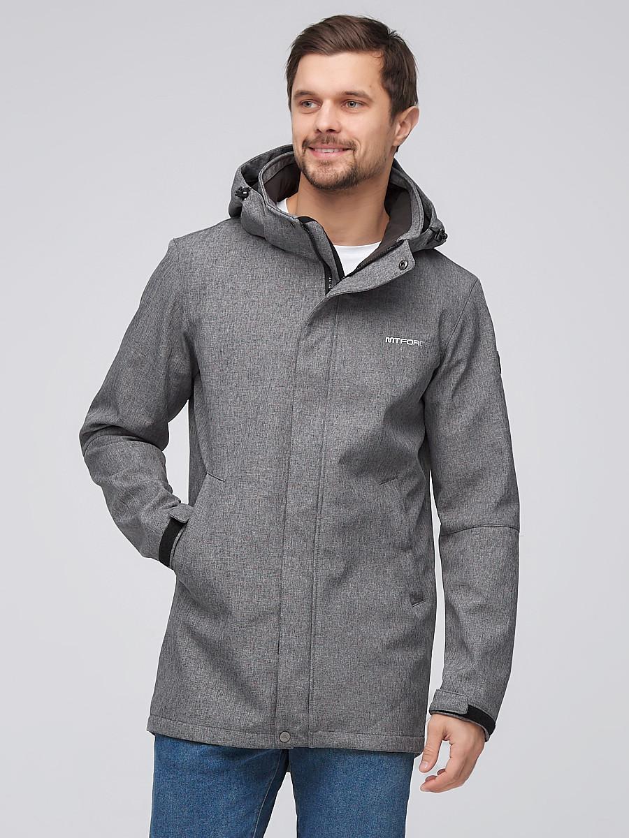 Купить Парка мужская осенняя весенняя softshell серого цвета 2010Sr