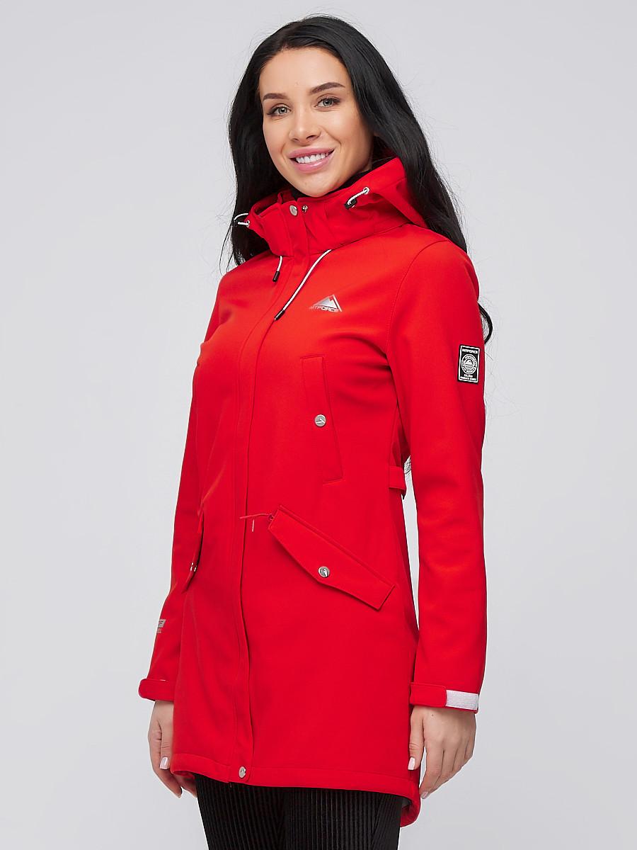 Купить Парка женская осенняя весенняя softshell красного цвета 2026Kr