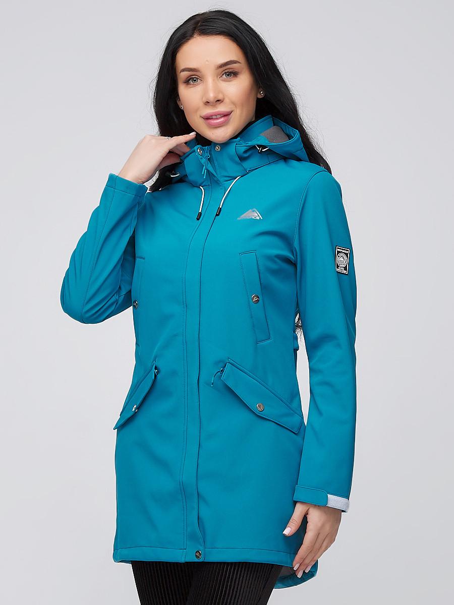 Купить Парка женская осенняя весенняя softshell бирюзового цвета 2026Br