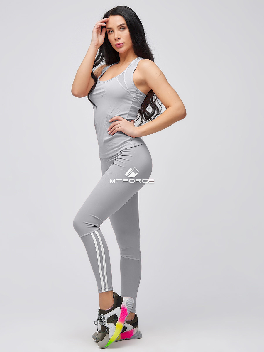 Купить Спортивный костюм для фитнеса женский серого цвета 21106Sr