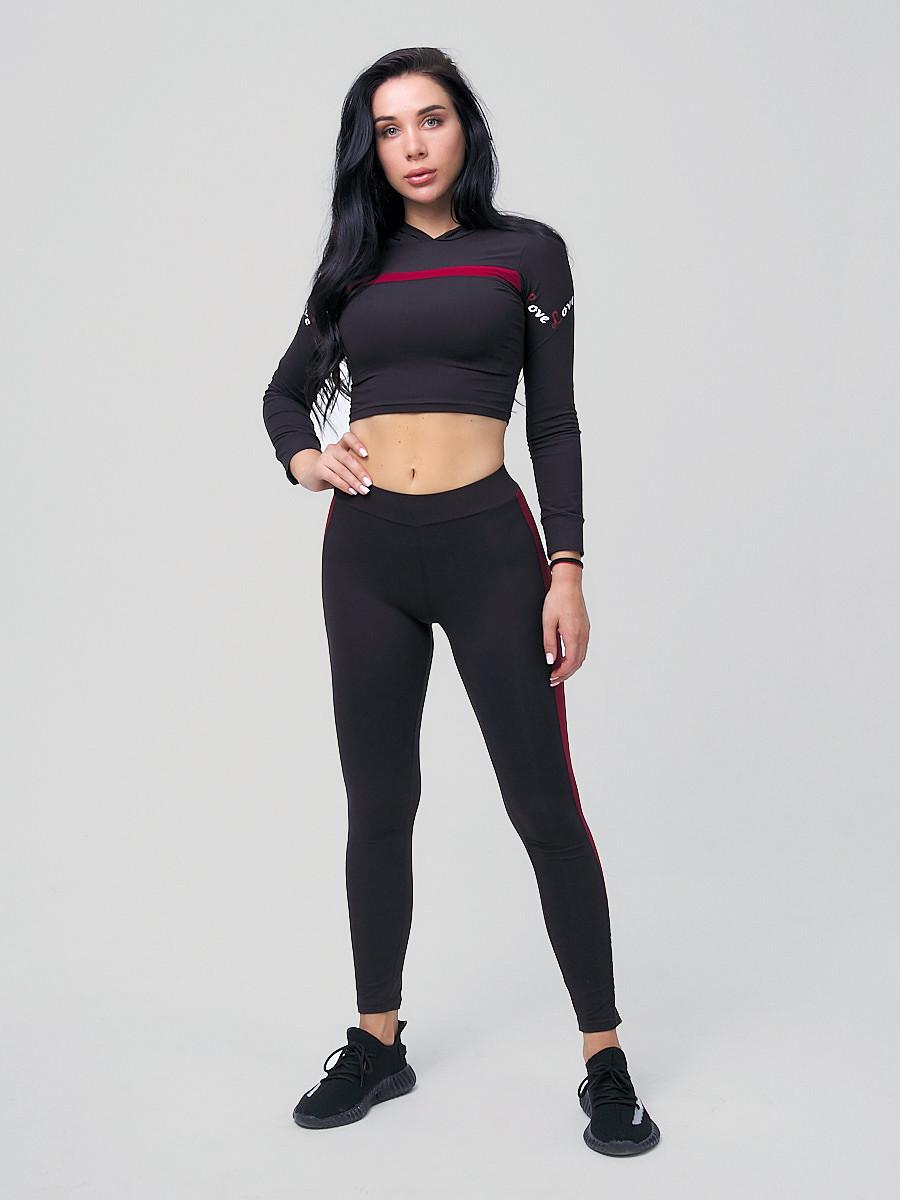Купить Спортивный костюм для фитнеса женский черного цвета 212912Ch