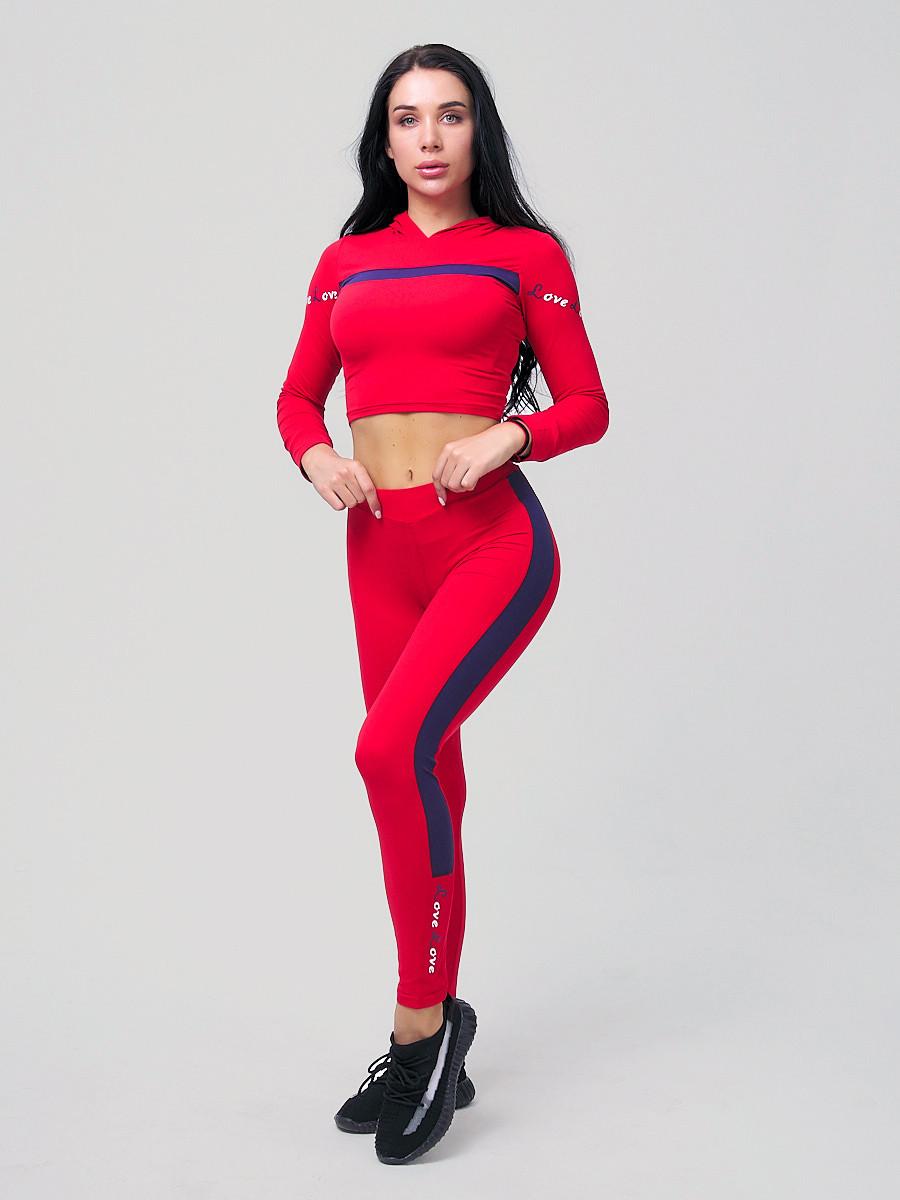 Купить Спортивный костюм для фитнеса женский красного цвета 212912Kr