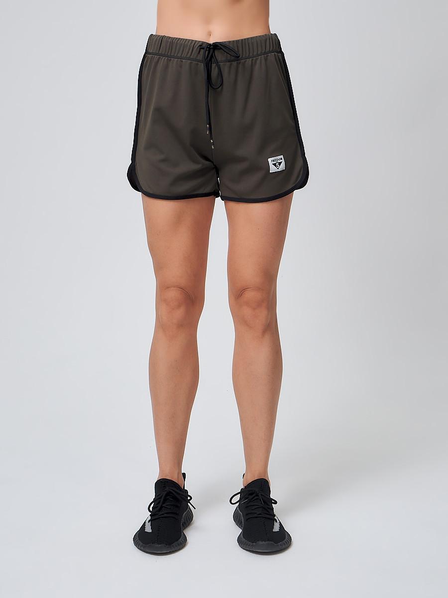 Купить Спортивные женские шорты big size цвета хаки 212311Kh