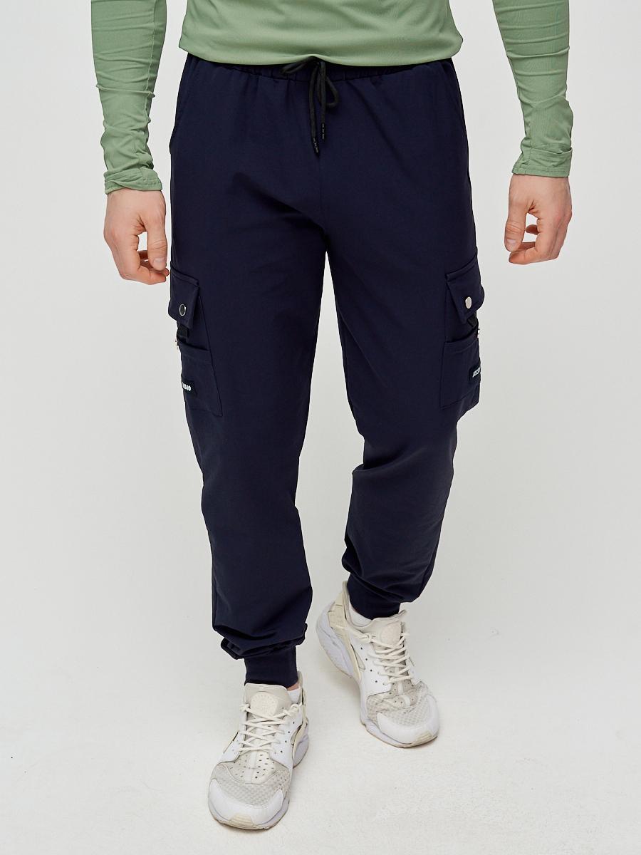 Купить Брюки спортивные мужские темно-синего цвета 3002TS