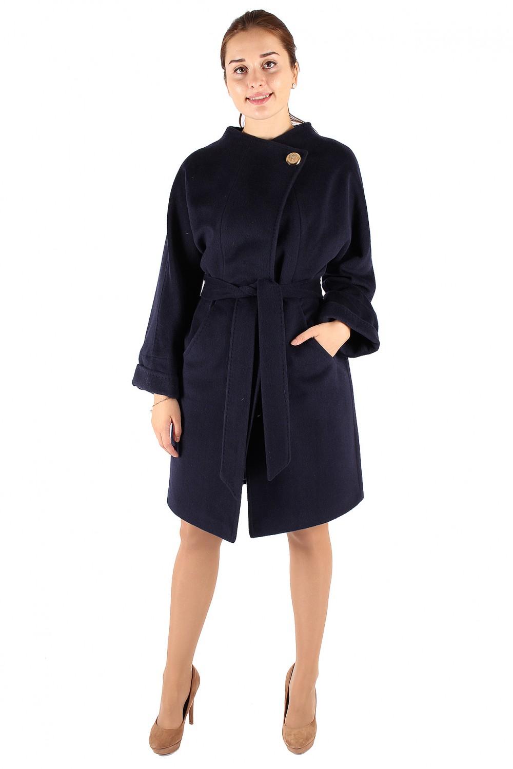 Купить Пальто женское темно-синего цвета 380TS