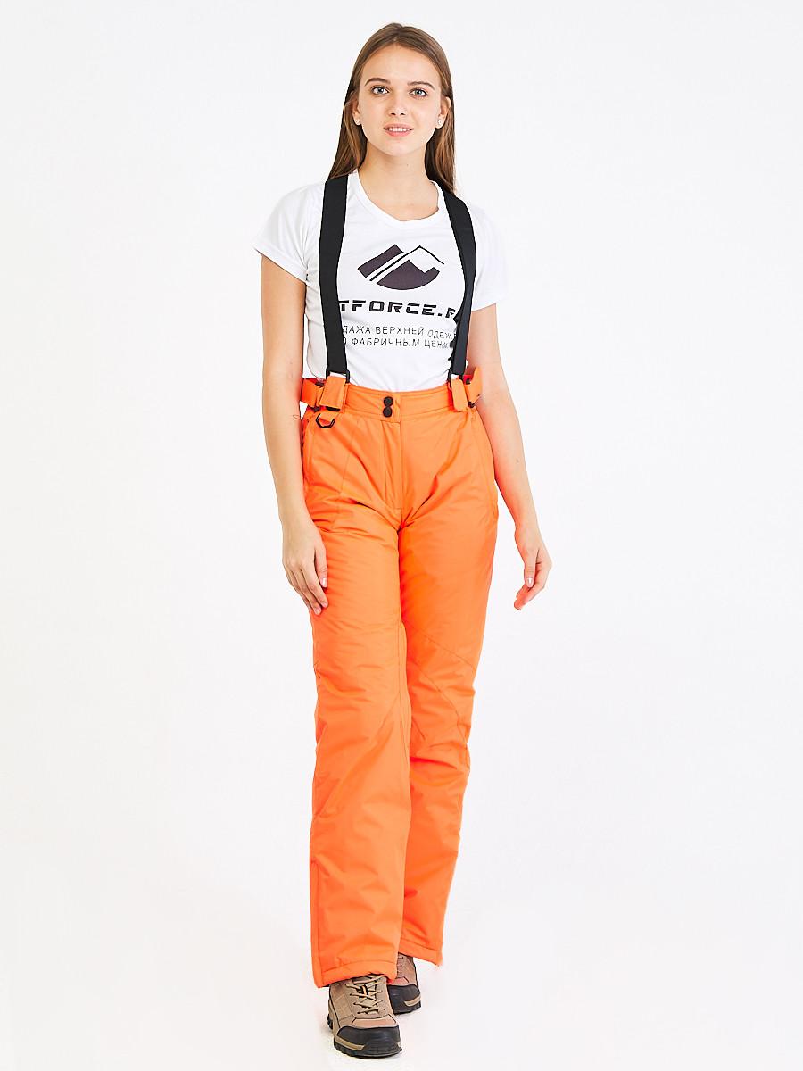 Купить Брюки горнолыжные женские оранжевого цвета 818O