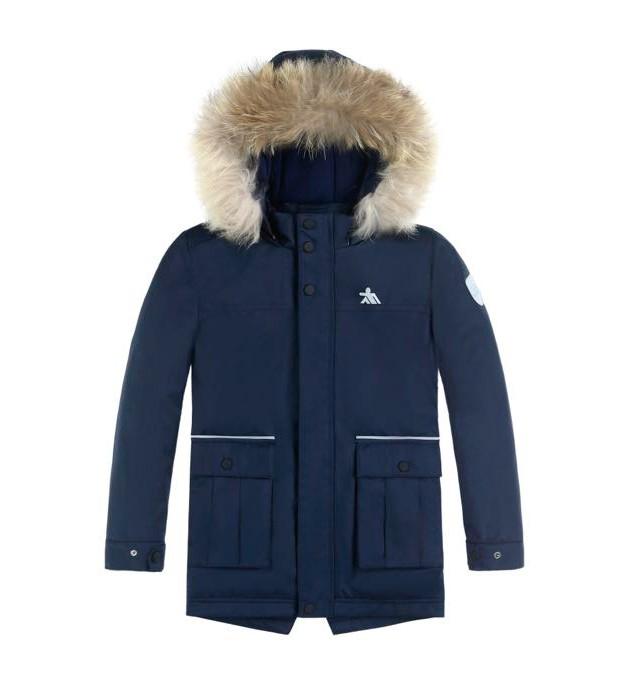 Купить Куртка парка зимняя подростковая для мальчика темно-синего цвета 8831TS