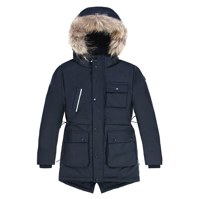 Купить Куртка парка зимняя подростковая для мальчика черного цвета 8833Ch