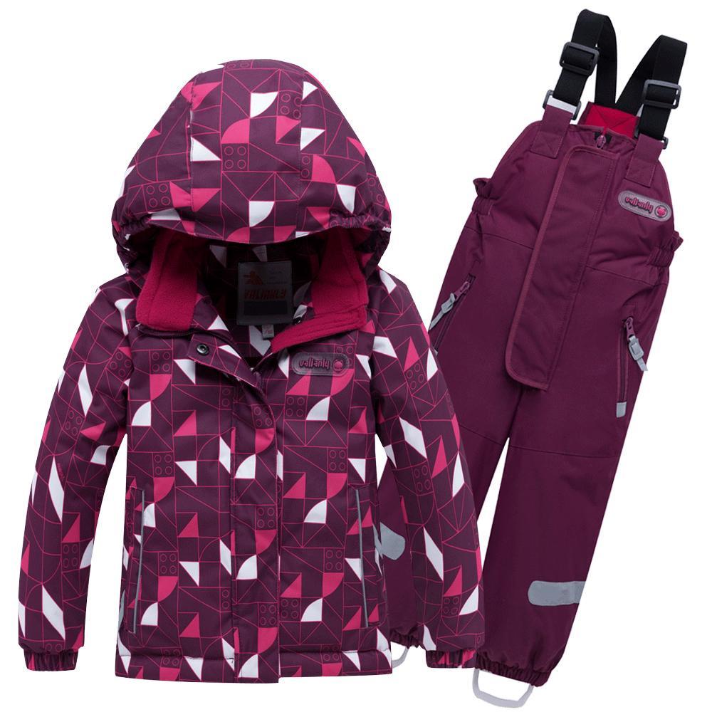 Купить Горнолыжный костюм детский малинового цвета 8912М