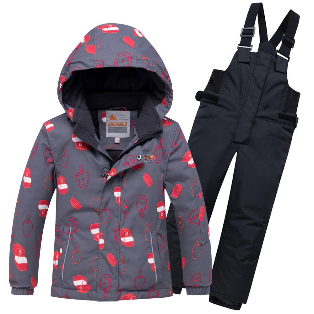 Купить Горнолыжный костюм детский темно-серого цвета 8913TC
