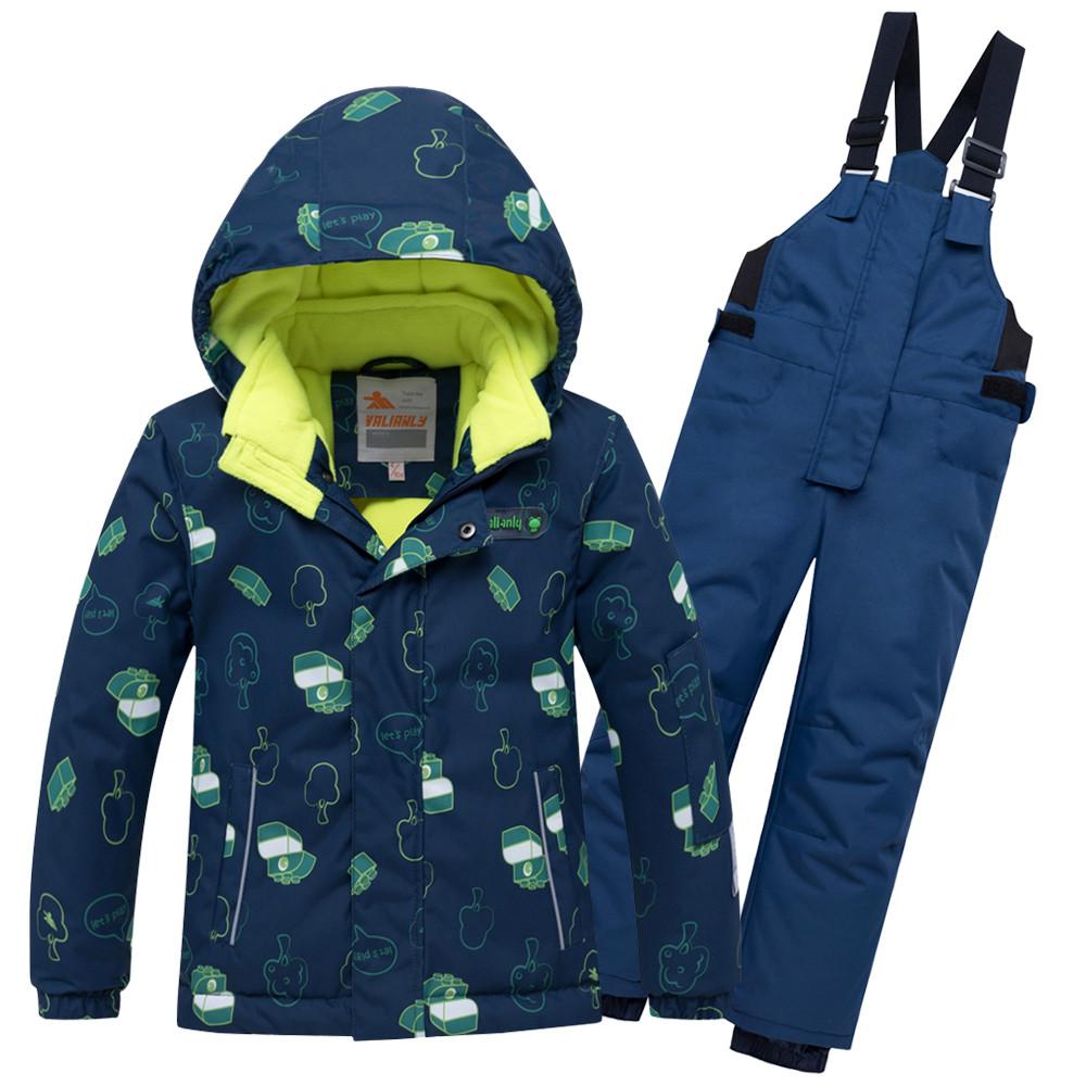 Купить Горнолыжный костюм детский темно-синего цвета 8913TS