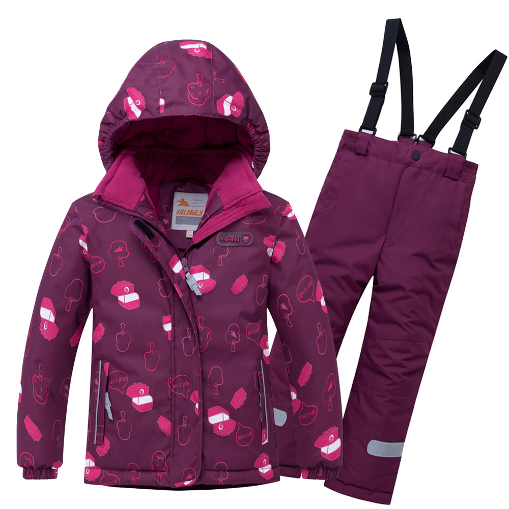 Купить Горнолыжный костюм детский малинового цвета 8914M