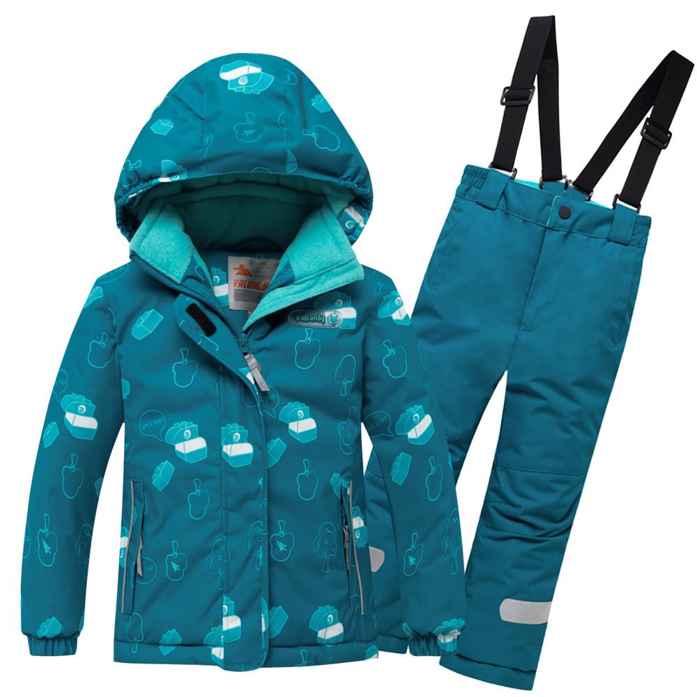 Купить Горнолыжный костюм детский бирюзового цвета 8914Br