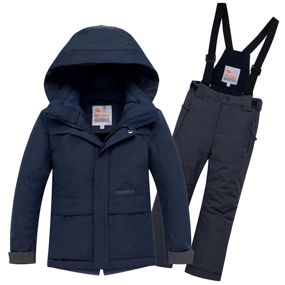 Купить Горнолыжный костюм для мальчика темно-синего цвета 8921TS