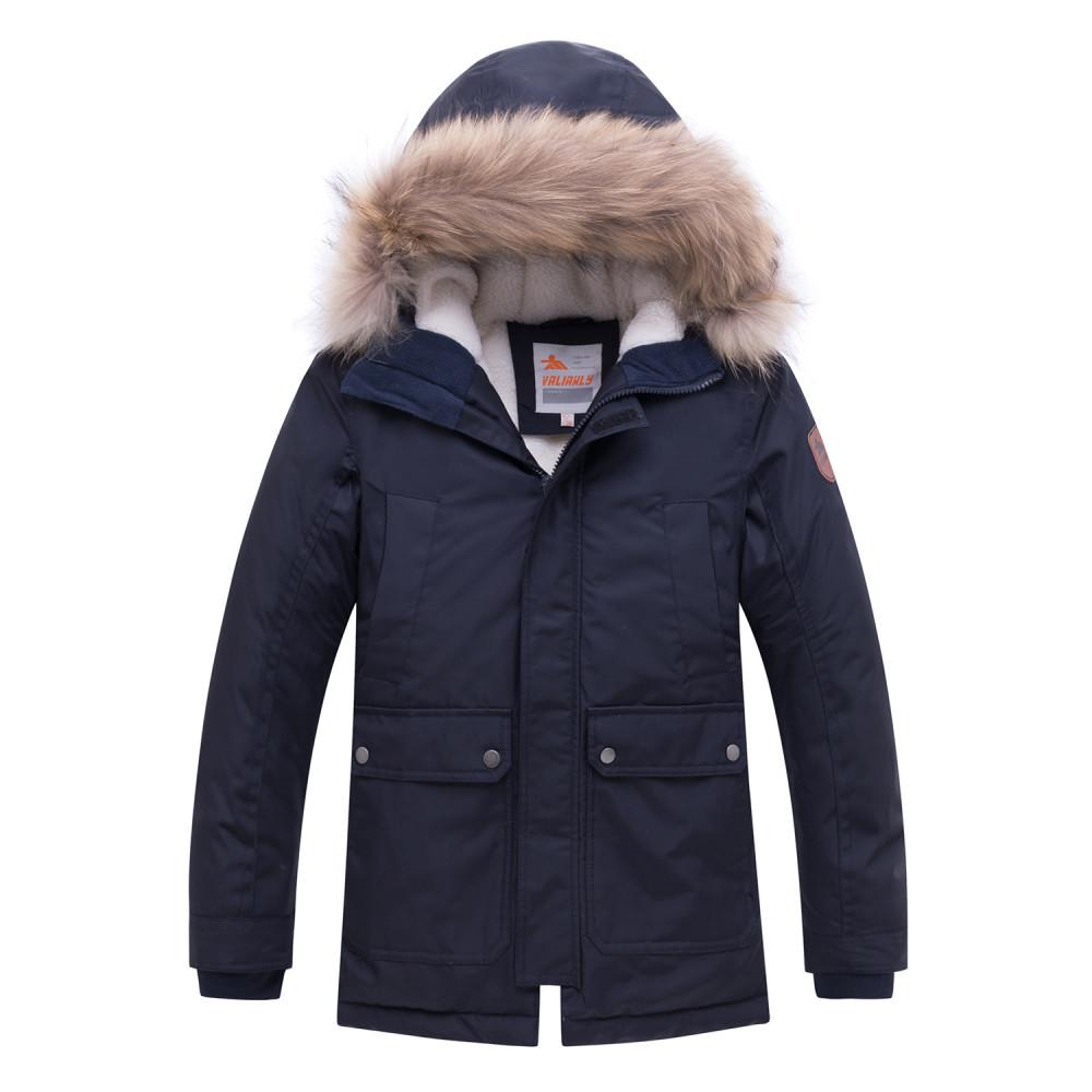 Купить Куртка парка зимняя подростковая для мальчика темно-синего цвета 8931TS