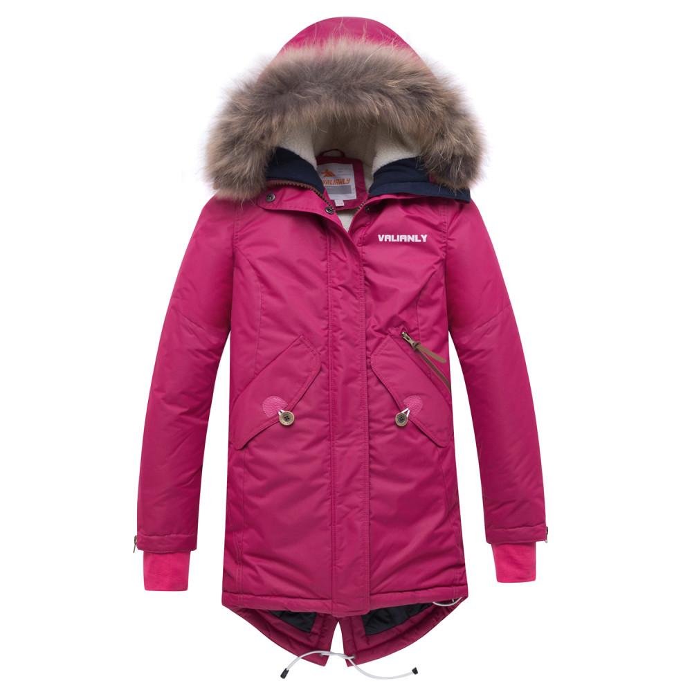 Купить Куртка парка зимняя подростковая для девочки малинового цвета 8934M