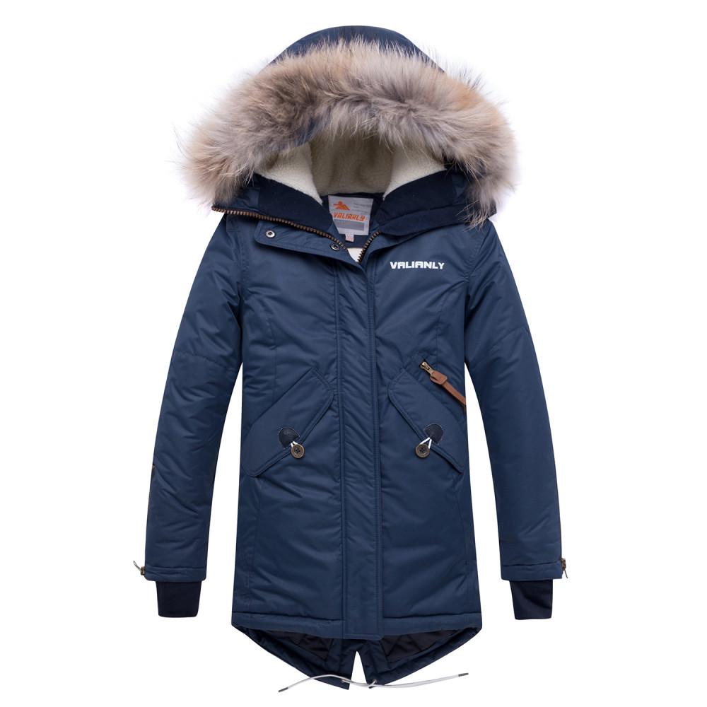 Купить Куртка парка зимняя подростковая для девочки темно-синего цвета 8934TS