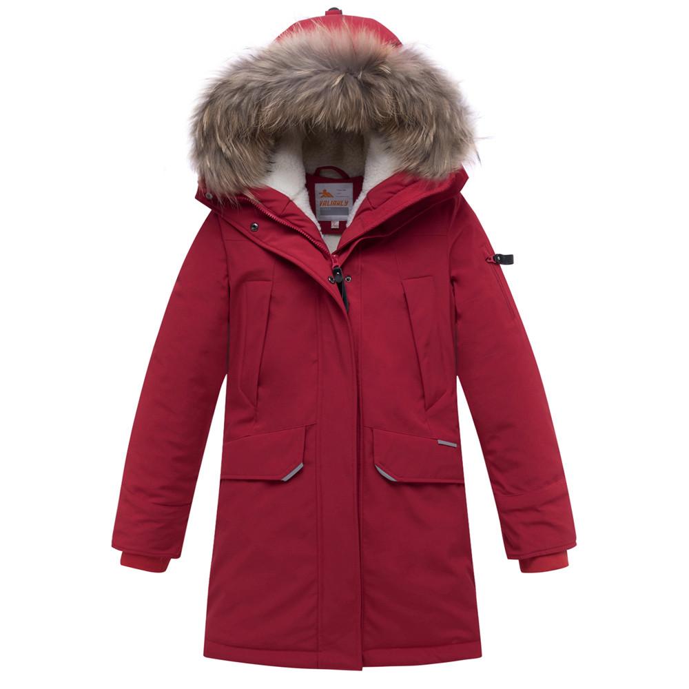 Купить Куртка парка зимняя подростковая для мальчика бордового цвета 8936Bo