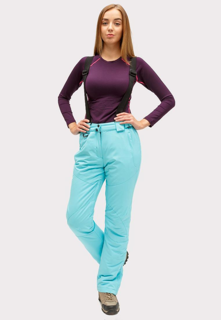 Купить Брюки горнолыжные женские голубого цвета 905Gl