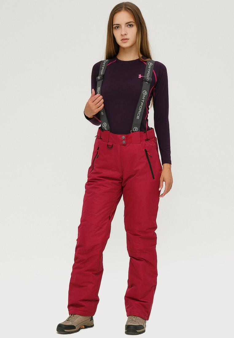 Купить Брюки горнолыжные женские бордового цвета 906Bo