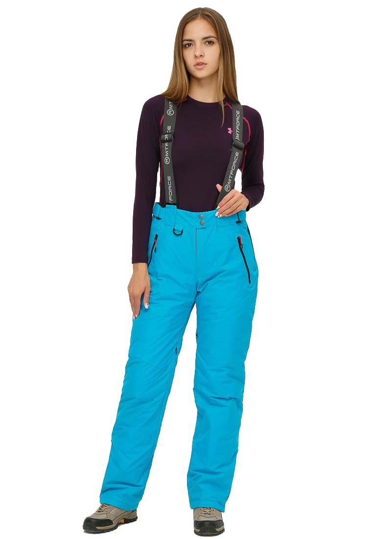 Купить Брюки горнолыжные женские голубого цвета 906Gl