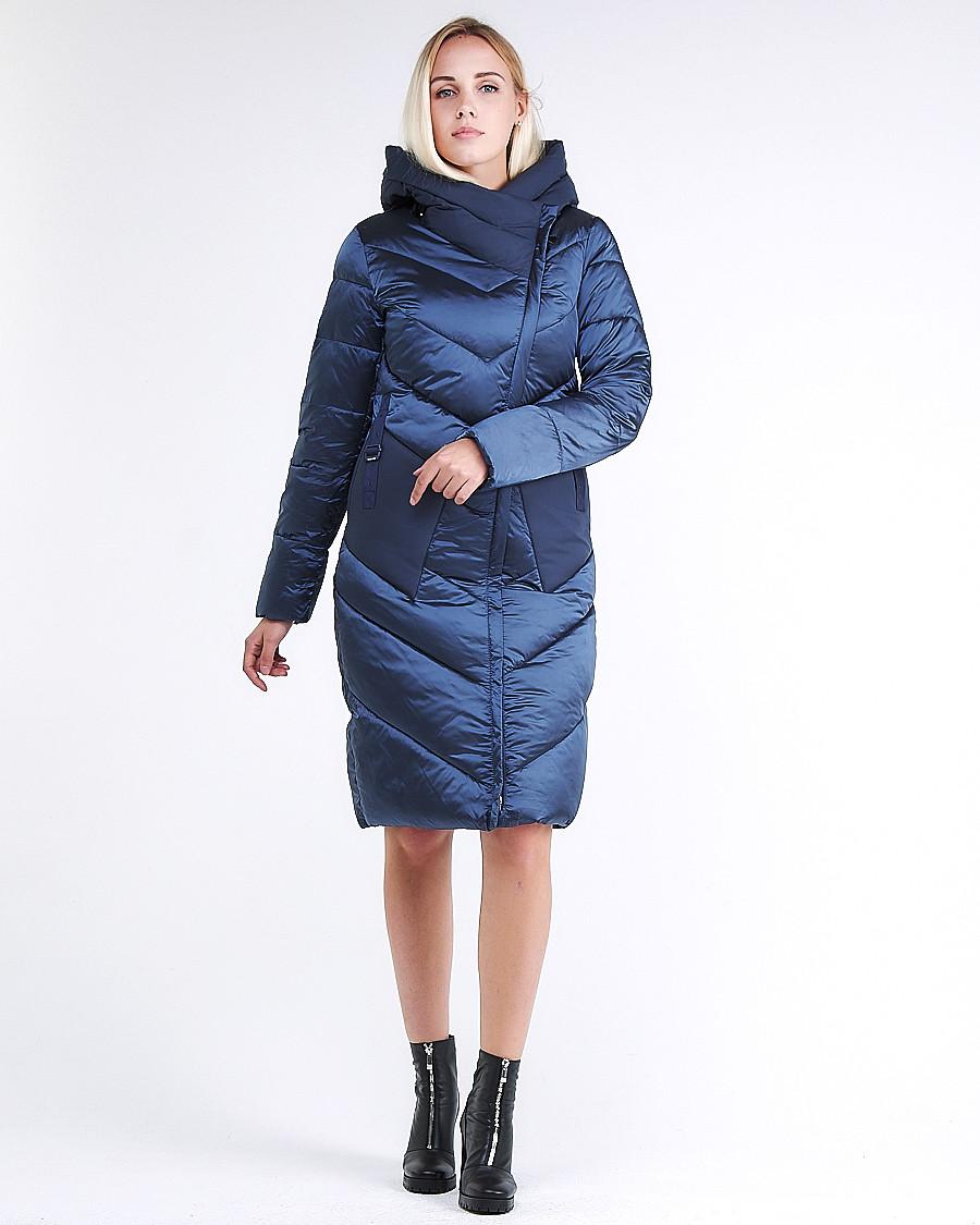 Купить Куртка зимняя женская классическая темно-синего цвета 9102_22TS