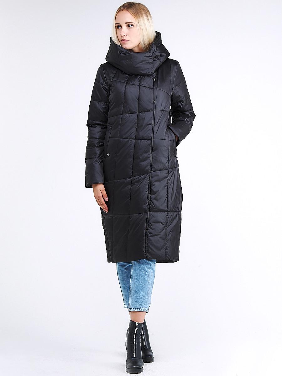 Купить Куртка зимняя женская молодежная стеганная черного цвета 9163_01Ch