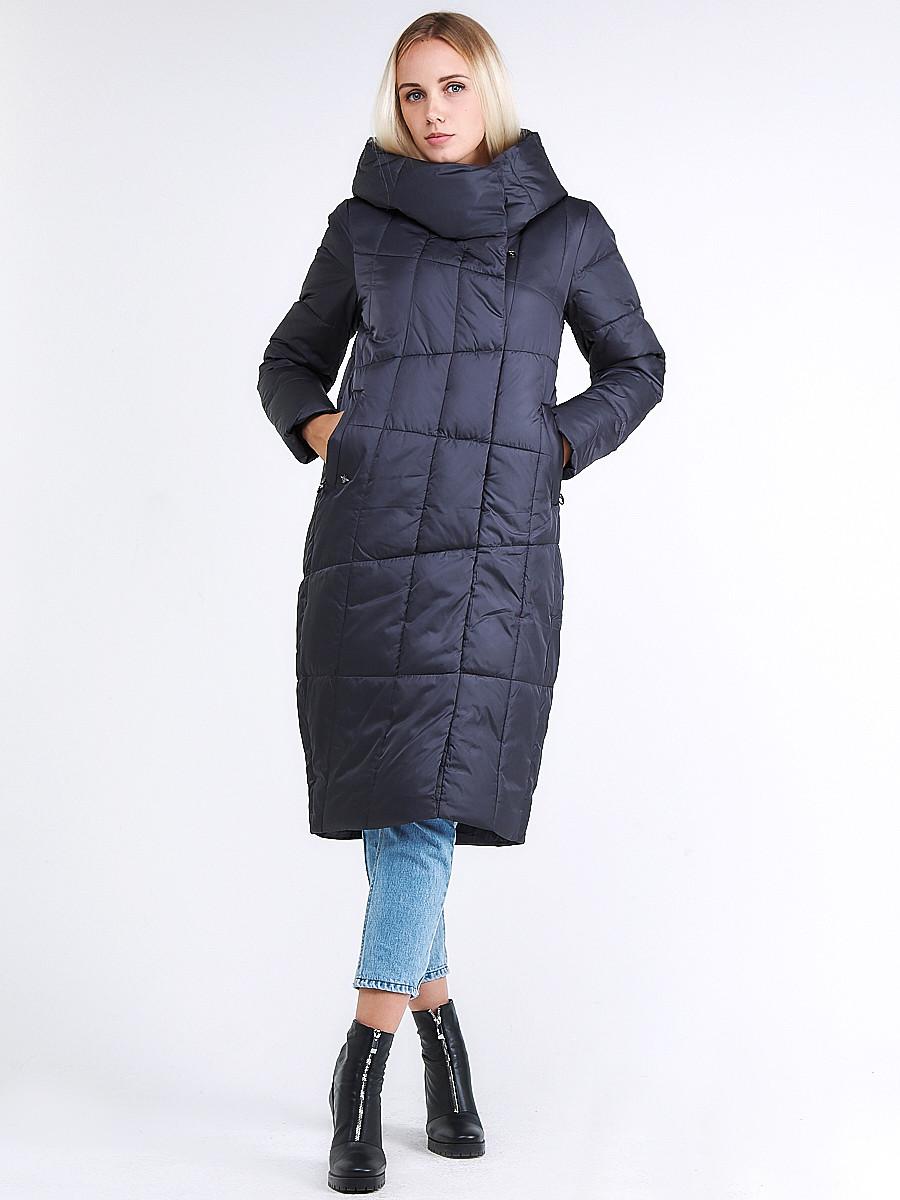 Купить Куртка зимняя женская молодежная стеганная темно-серого цвета 9163_29TC