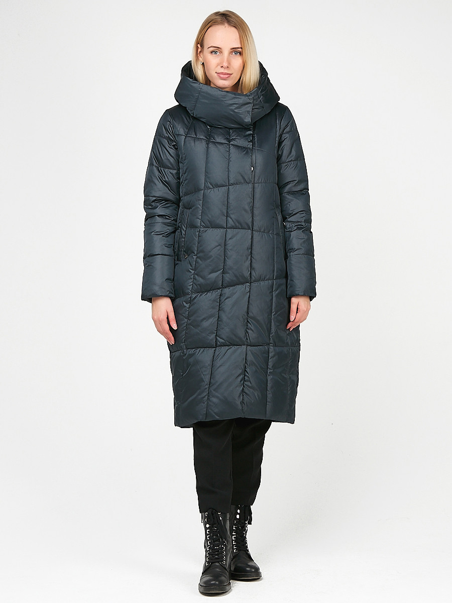 Купить Куртка зимняя женская молодежная стеганная темно-серого цвета 9163_03TC