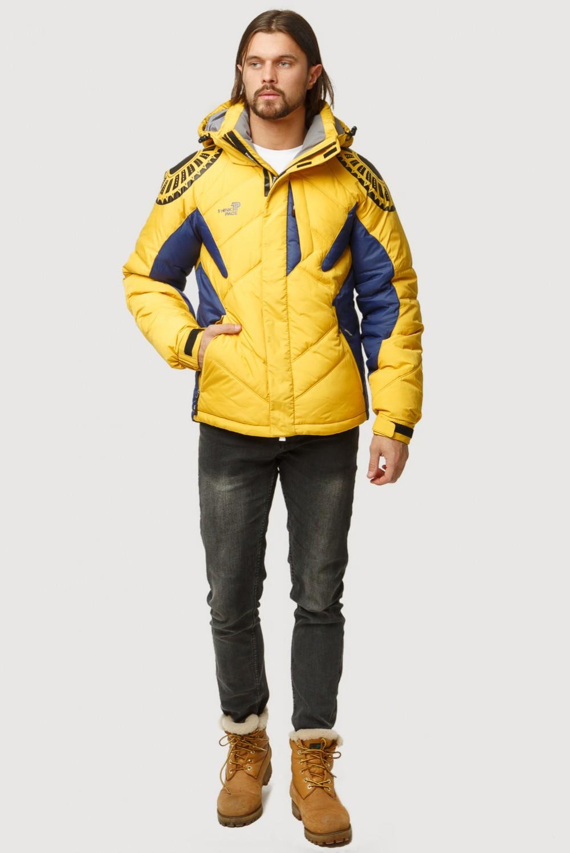 Купить Куртка зимняя мужская желтого цвета 9441J
