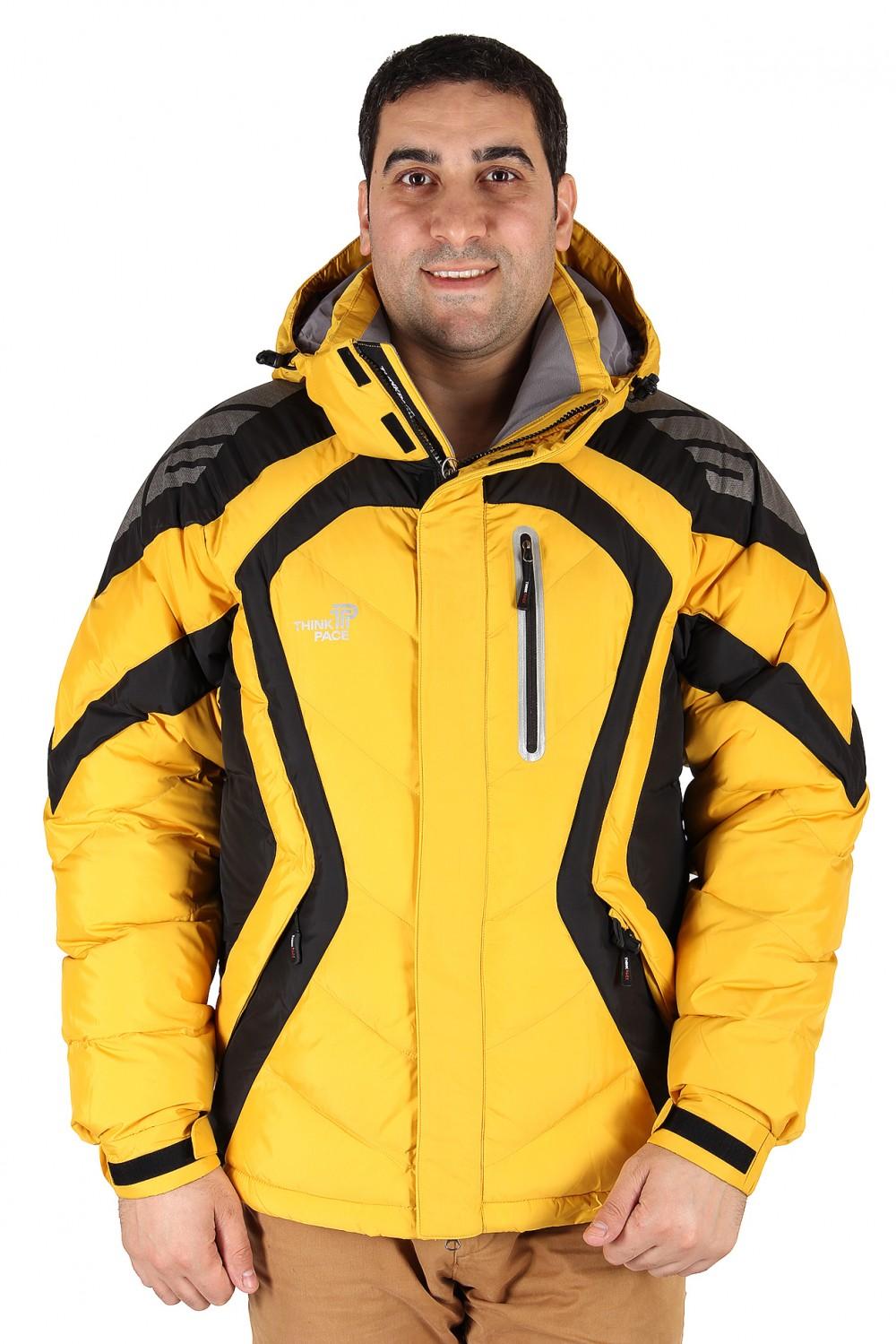 Купить Куртка зимняя мужская желтого цвета 9455J