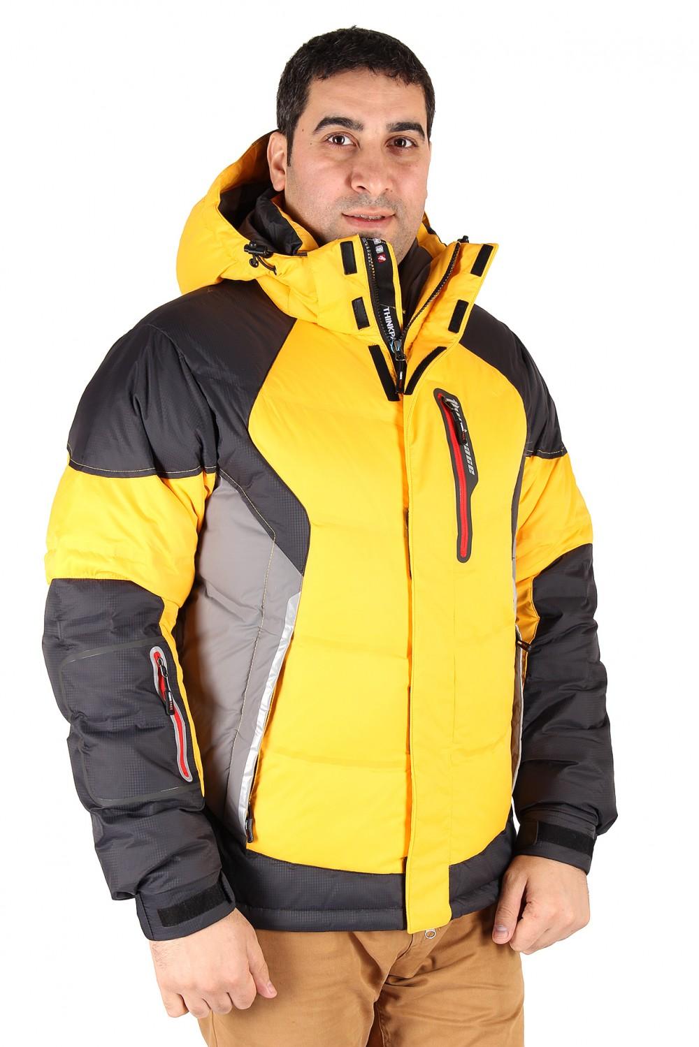 Купить Куртка пуховик мужская желтого цвета 9855J