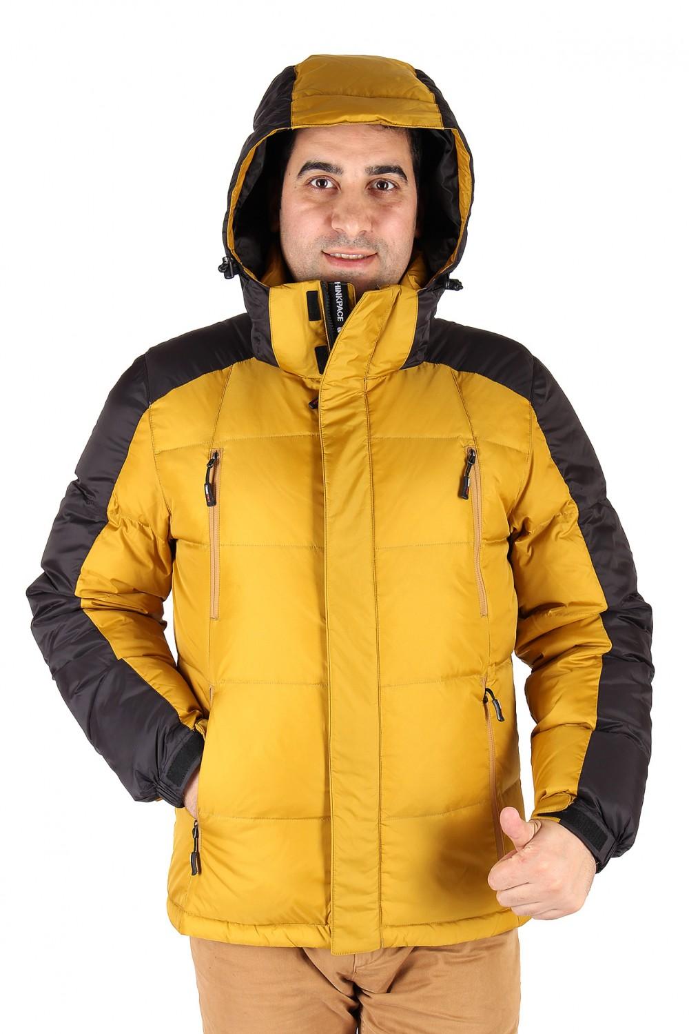 Купить Куртка пуховик мужская горчичного  цвета 9872G