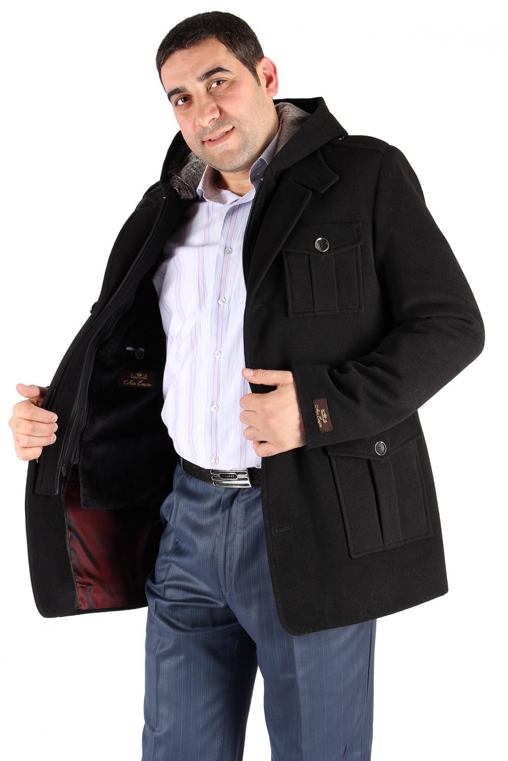 Купить Полупальто мужское черного цвета Кс-03Ch