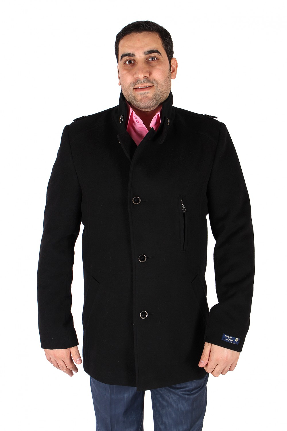 Купить Полупальто мужское черного цвета Кс-25Ch