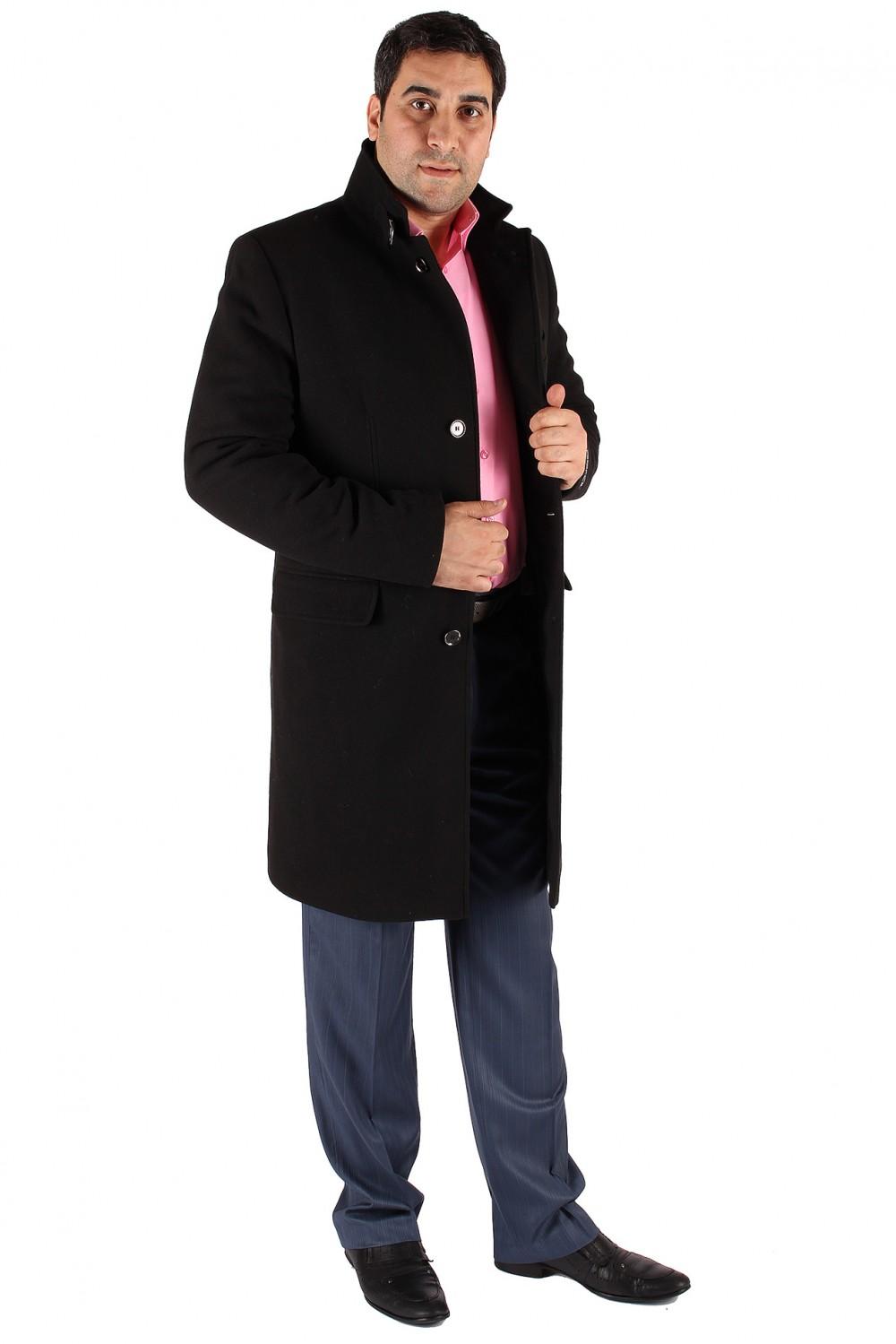 Купить Пальто мужское черного цвета M-23Ch