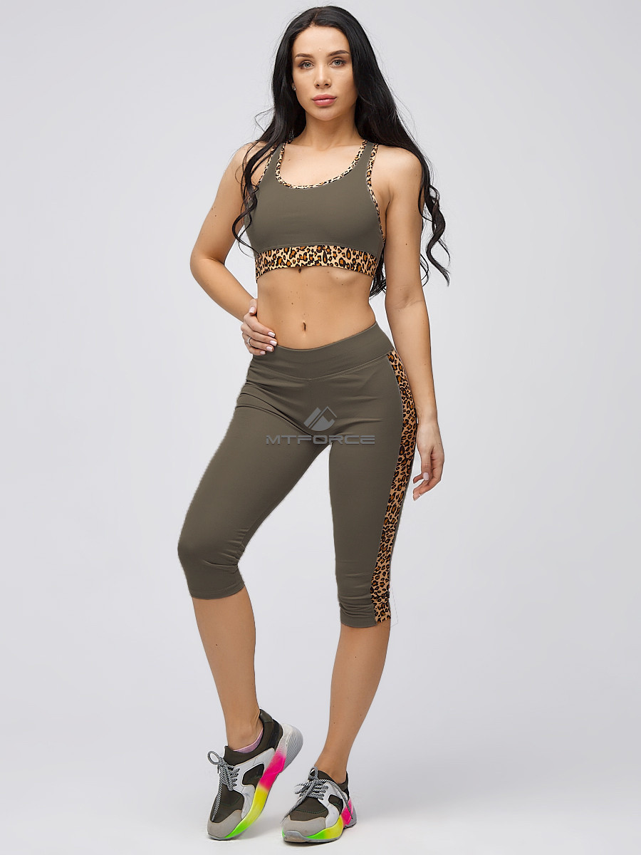 Купить Спортивный костюм для фитнеса женский цвета хаки 21107Kh