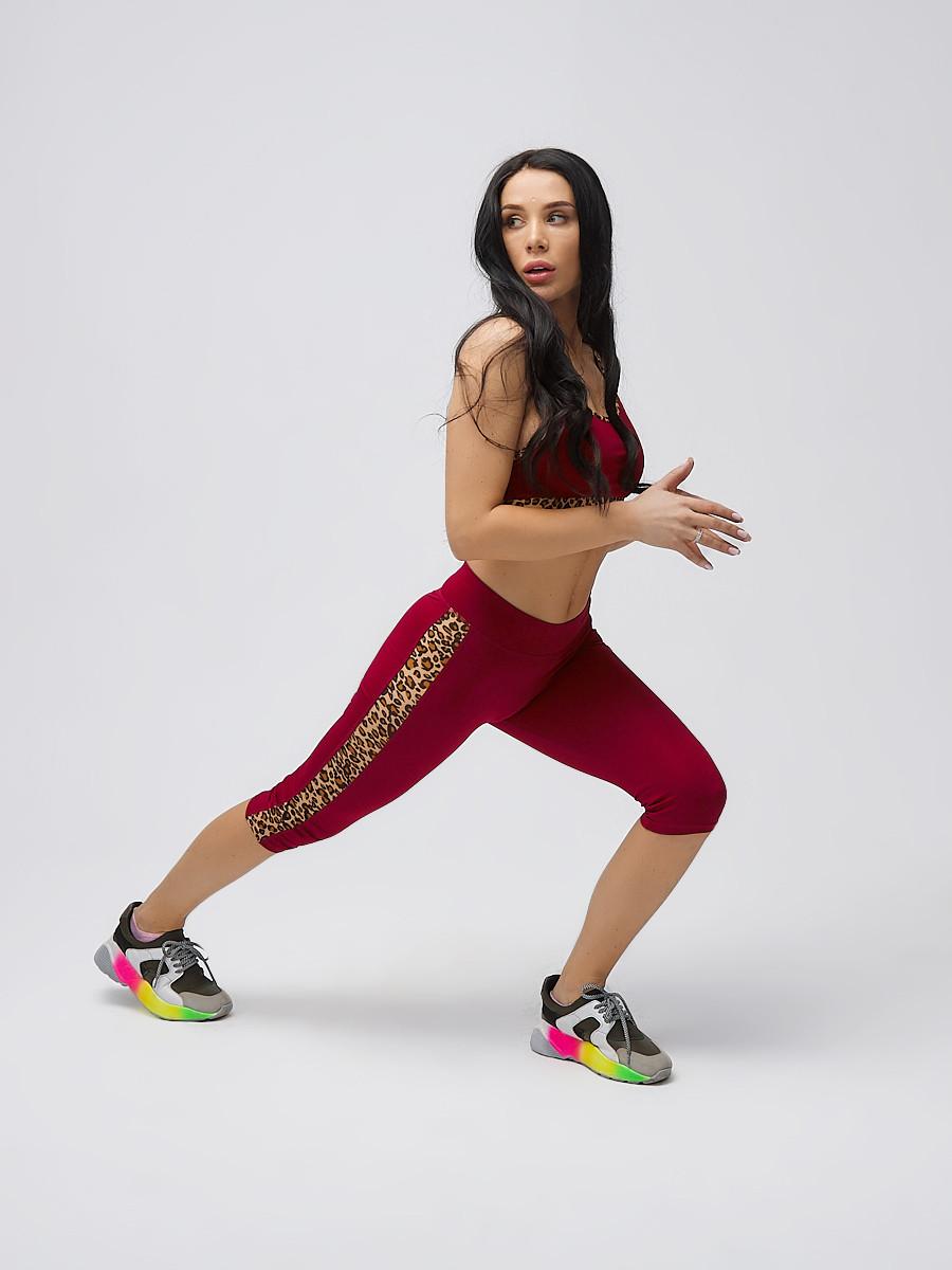 Купить Спортивный костюм для фитнеса женский бордового цвета 21107Bo