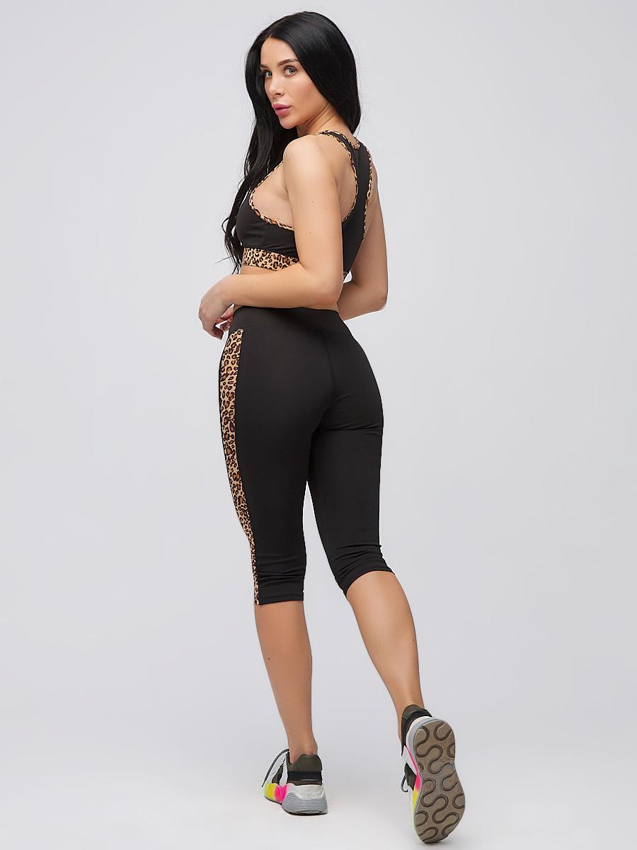 Купить Спортивный костюм для фитнеса женский черного цвета 21107Ch