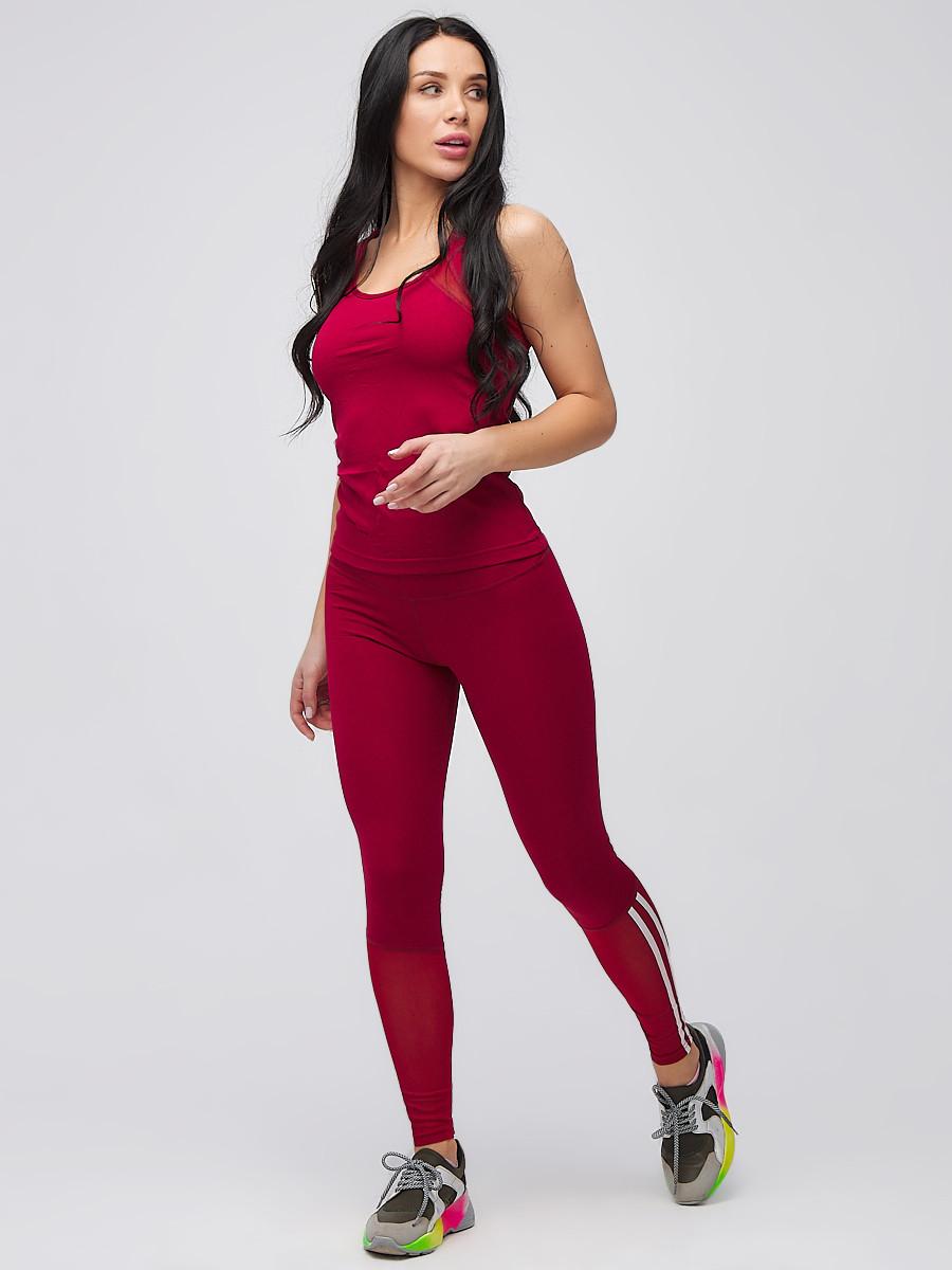 Купить Спортивный костюм для фитнеса женский бордового цвета 21106Bo